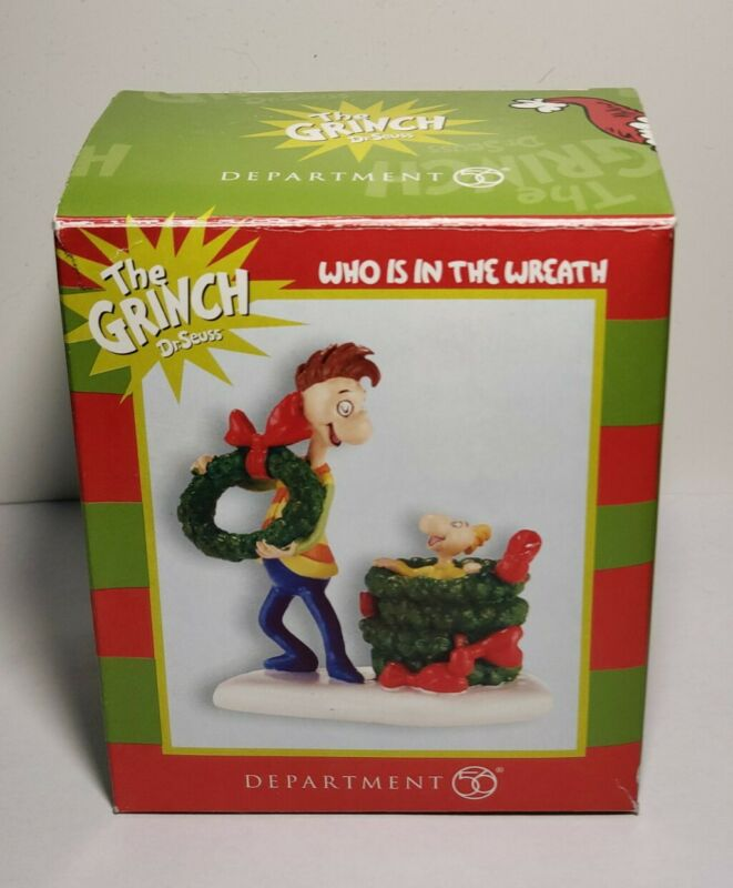 """Department 56 Grinch Village Dr Seuss Retired Figure """"Who Is In The Wreath"""""""