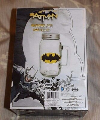 BATMAN 24 oz. DC Comics Travel JUMBO Mason Jar with Lid NEW