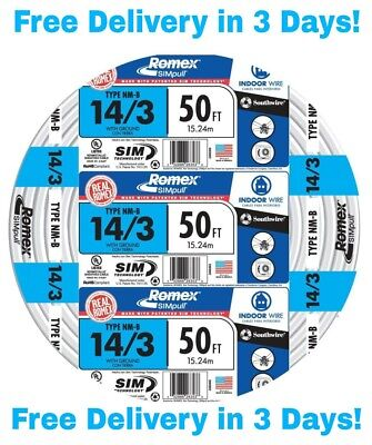 143 Wground Romex Indoor Electrical Wire 50 Feet All Lengths Available