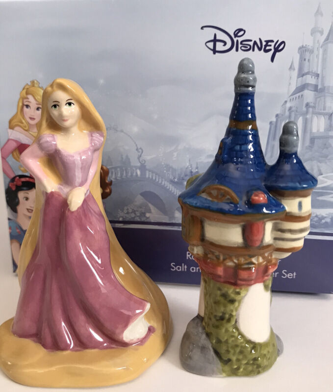 Tangled Rapunzel & Tower Salt & Pepper Shakers Enesco Disney Ceramics NEW