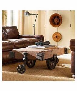 DORRO OLD RAILWAY SLEEPER INDUSTRIAL CART COFFEE TABLE 120cm Manly Vale Manly Area Preview