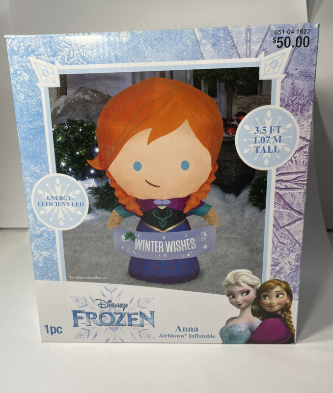 3.5 Foot Anna Disney Frozen Christmas Airblown Inflatable Winter Wishes Banner