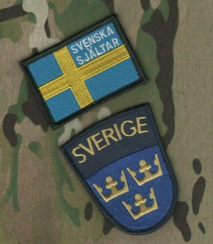 SWEDEN Svenska armén vêlkrö 2-INSIGNIA: Swedish Army + Flag (SVENSKA SJÄLTAR)