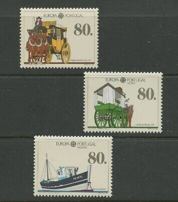Mail Wagon Cart Horse Boat 3 mnh Stamps 1988 Portugal Azores Madeira Europa, used for sale  Shipping to India