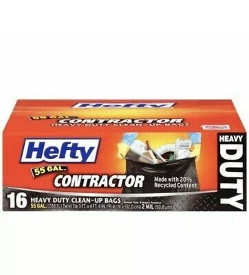 Hefty 55-Gallon Contractor Bags, 16 Count, Trash Garbage Heavy Duty 2 mil thick