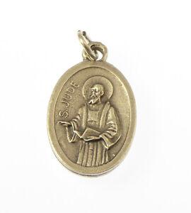 Saint St. Jude silver metal medal rosary beads pendant