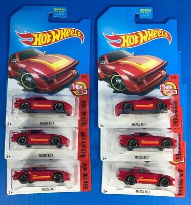 Lot of 6 Hot Wheels MAZDA RX-7 in Red Color from Kmart **DAMAGED PACKAGES**