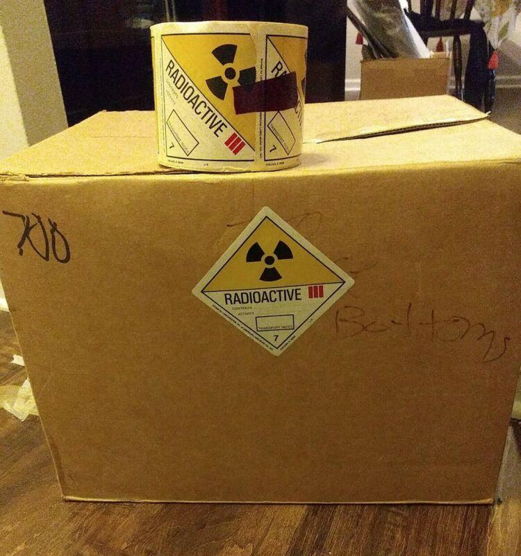 Labelmaster Radioactive III labels CASE of 12 rolls of 500 labels civil defense