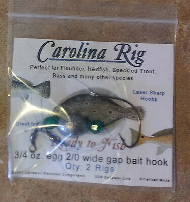 Carolina rigs 10 rigs 3/4oz 2/0 mustad hook fishing rig flounder catfish bass