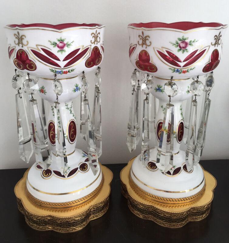 """Superb Large Victorian  Bohemian Porcelain & Cut Glass Mantle Lustres Electr 15"""""""