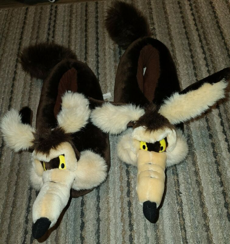 VTG Wile E Coyote Slippers Warner Bros Studio Store Exclusive Size L 1996