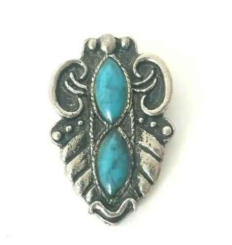 Vintage Two Turquoise Blue Color Stones Silver Tone Bolo Tie Clip Slide
