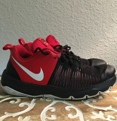 Nike Youth Sz 7Y Red Black Team Hustle Quick Shoes Athletic Basketball