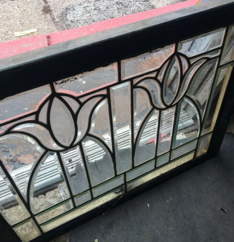Rare Old Heavy Bevel Window Arts & Crafts/ Deco Style Floral Tulip Mansion