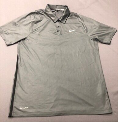 Nike Tiger Woods Collection Dri-Fit Golf Shirt Polo (M, Gray)(RC)(BUTTON)
