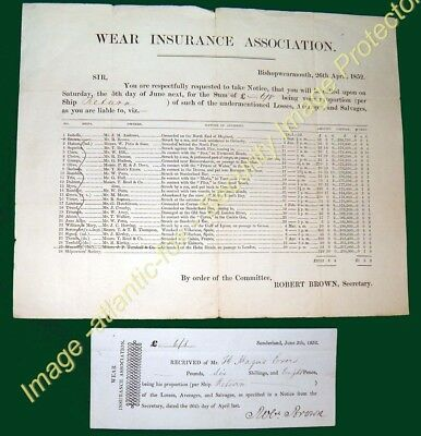 "1852 WEAR INSURANCE ASSOCIATION, premium receipt for SHIP ""RETURN"" and Loss info"