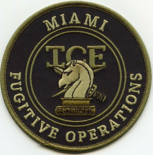 MIAMI FLORIDA FL ICE FUGITIVE OPERATIONS subdued green POLICE PATCH