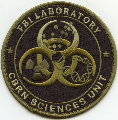 FBI LAB CHEMICAL BIOLOGICAL RADIOLOGICAL NUCLEAR CBRN subdued green POLICE PATCH