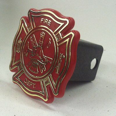 FIRE DEPARTMENT MALTESE CROSS TRAILER HITCH COVER; Fits 2 inch receivers