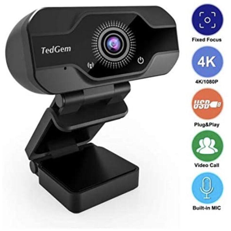 HD Pro Webcam, TedGem 8MP Fixed Focus 4K/1080P Full HD Webcam USB Webcam