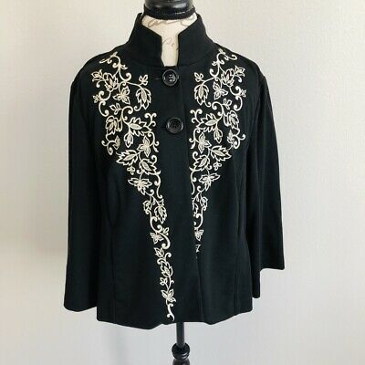 Coldwater Creek Womens Size Medium Cape Jacket Cardigan Black Embroidered - Womens Black Cape