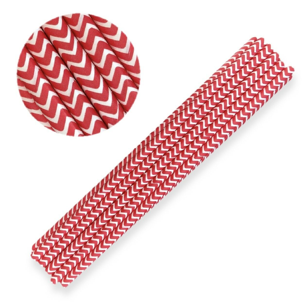12 Red Chevron Print Cake Pop Sticks - Custom Cakepop Straws from Bakell