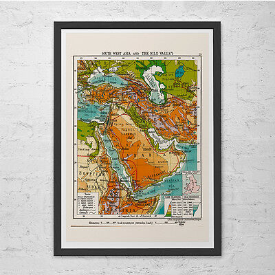Middle East Wall Map (VINTAGE MIDDLE EAST Map - Vintage Map Wall Art - Vintage Map Reproduction, Egypt)