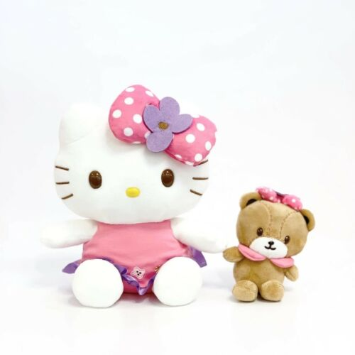 Sanrio Hello Kitty & Tiny Chum Bear Flower Plush Mascot Doll Set