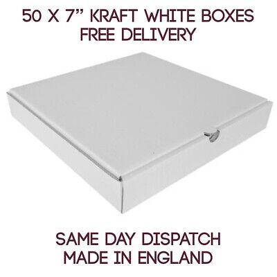 50 Plain White Pizza Storage Takeaway Strong Quality Postal Boxes, 7