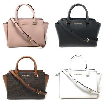 Michael Kors Selma Medium Top Zip Satchel Handbag Crossbody Signature Leather Zip Leather Satchel