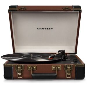 New Crosley CR6019D-BR Executive USB Turntable with Bluetooth