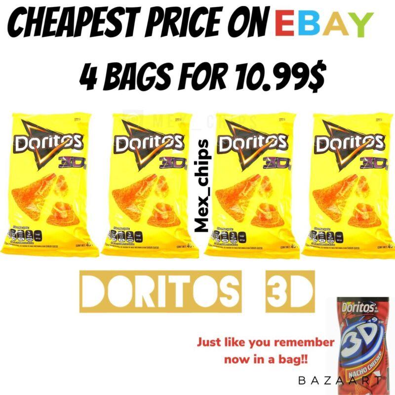 Doritos 3D queso Mexican chips Sabritas 4 BAGS, 45g, FRESH 2021