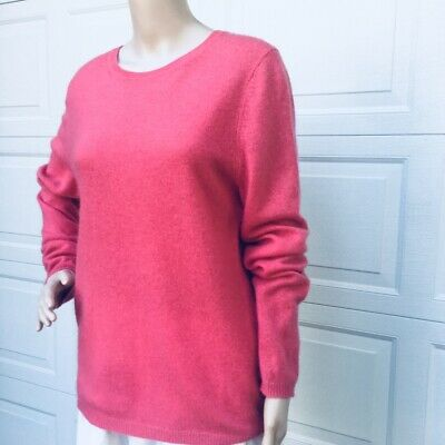 Eileen Fisher  L Large Coral Red Cashmere Ballet neck  Sweater Top Pullover