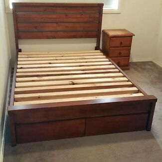 QUALITY Solid Wood Double bed +Mattress +side table + drawers deliver