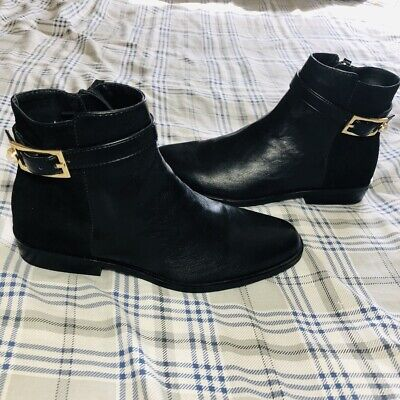 Zara size 6.5 Black Ankle Boots With Buckle New With Tags