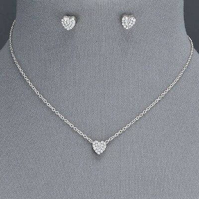 Silver Chain Dainty Small Clear Rhinestone Heart Pendant Necklace With Earrings