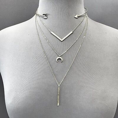 Antique Silver Finish Triple Layer with Open Arrow Choker Boho Style Necklace