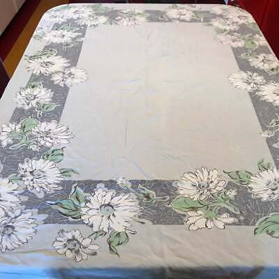 Vintage 1940s Floral Tablecloth retro 1950s kitchen Gray White Green Large 58x66