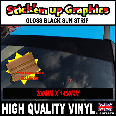 GLOSS BLACK LARGE VAN SUN STRIP 1400mm x 200mm GRAPHICS DECALS STICKER SQUEEGEE
