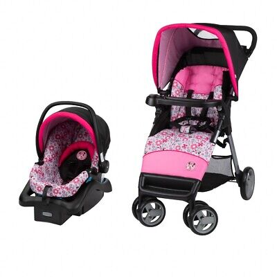 Disney Minnie Mouse Baby Stroller - Simple Fold LX Travel System, With Car Seat