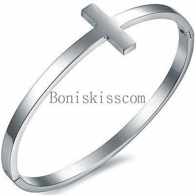 Stainless Steel Silver Tone Sideways Cross Cuff Bangle Bracelet Birthday Gift