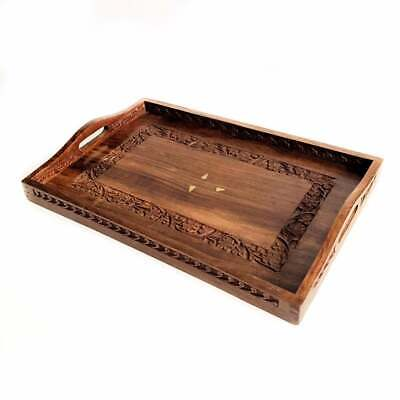 Vintage Wooden Tray Brown Carved Wood Tray Office Decor India Rectangular