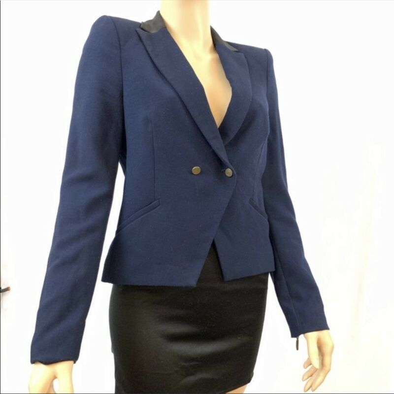 Vintage Zara Trafaluc Navy Blue Blazer Buttoned Size Medium Black Collar