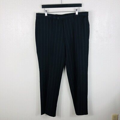 Hugo Boss Black Pink Pinstripe Dress Pants Flat Front 100% Wool Black Pinstripe Dress Pants