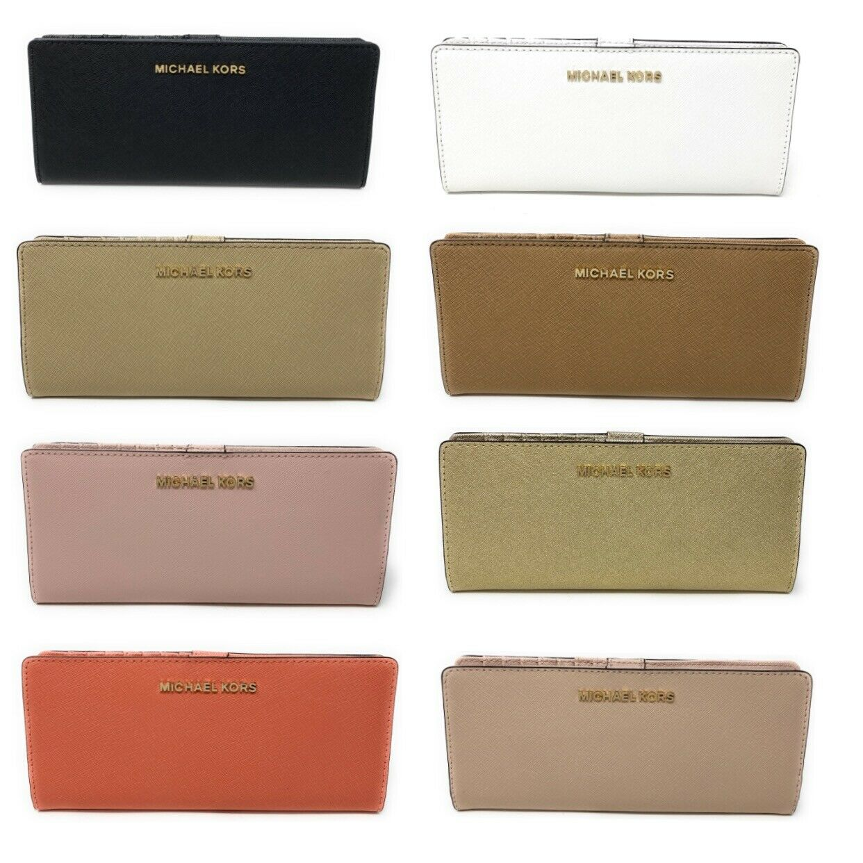 Michael Kors Jet Set Travel Flat Slim Bifold Saffiano Leather Wallet $148 Clothing, Shoes & Accessories