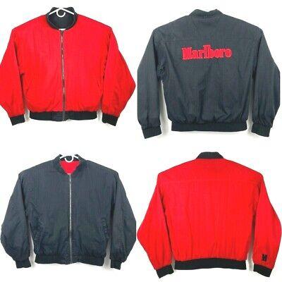Vintage 90's Marlboro Spell Out Bomber Jacket Red & Black Reversible Mens Large