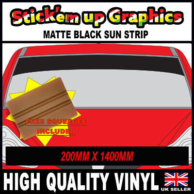 8IN SPECIAL OFFER PLAIN MATT BLACK SUN STRIP CAR DECALS GRAPHICS SQUEEGEE GIFT
