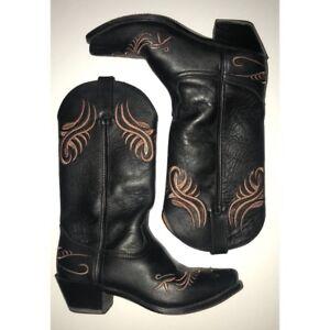 SANTA FE womens leather cowboy boots black/brown size 7