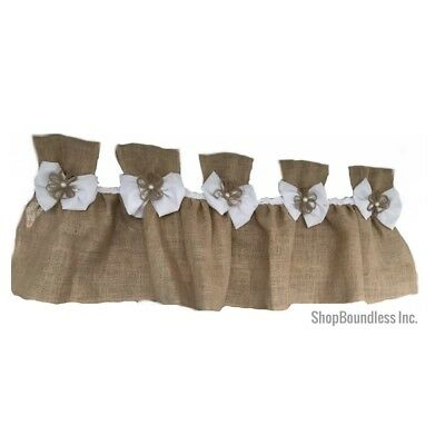 New French best Twine -Shabby Rustic Chic BURLAP Curtain Valance Country