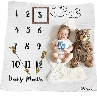 Baby Milestone Blanket Organic Cotton Muslin - Monthly Newborn Swaddle Blanket